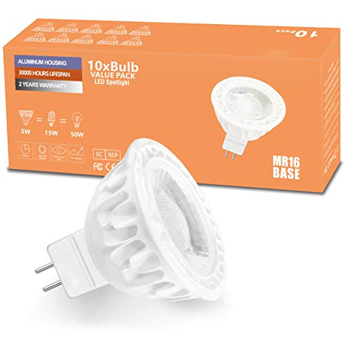 AnTing MR16 LED Lampen GU5.3,5W LED Birne ersetzt 50W Halogan Lampen,Kaltweiß 5000K,Nicht Dimmbar,420 Lumen,AC/DC 12V LED Bulbs,LED Strahler 35° Abstrahlwinkel,10 Stück