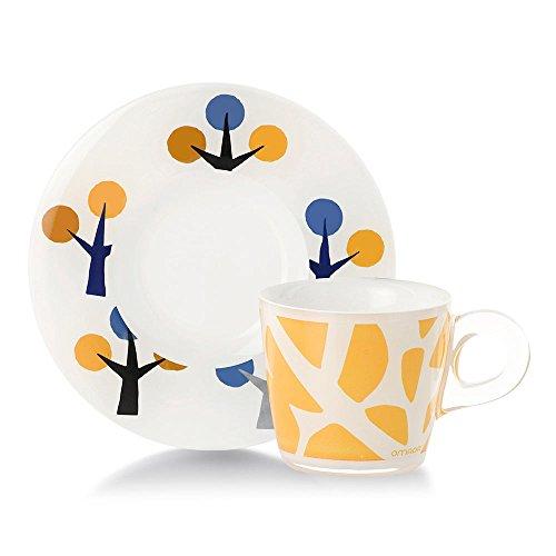 Omada design Set 4 tazas de café con platillo, capacidad 6 cl, en plástico irrompible, apto para lavavajillas, línea Plexart, varios patrones, para bares, restaurantes y particulares
