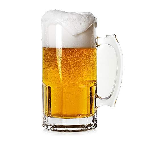 Style Extra Large Beer Mug 35 OunceLarge Glass Mugs With HandleOne Liter German Beer Stein Super Mug 35 oz