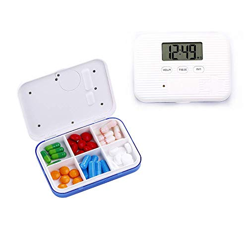 Portable Pill Box with Timing Pill Case Alarm Timer - Pill Storage Organizer Box for Hold Vitamin,Fish Oil,Tablet & Medication