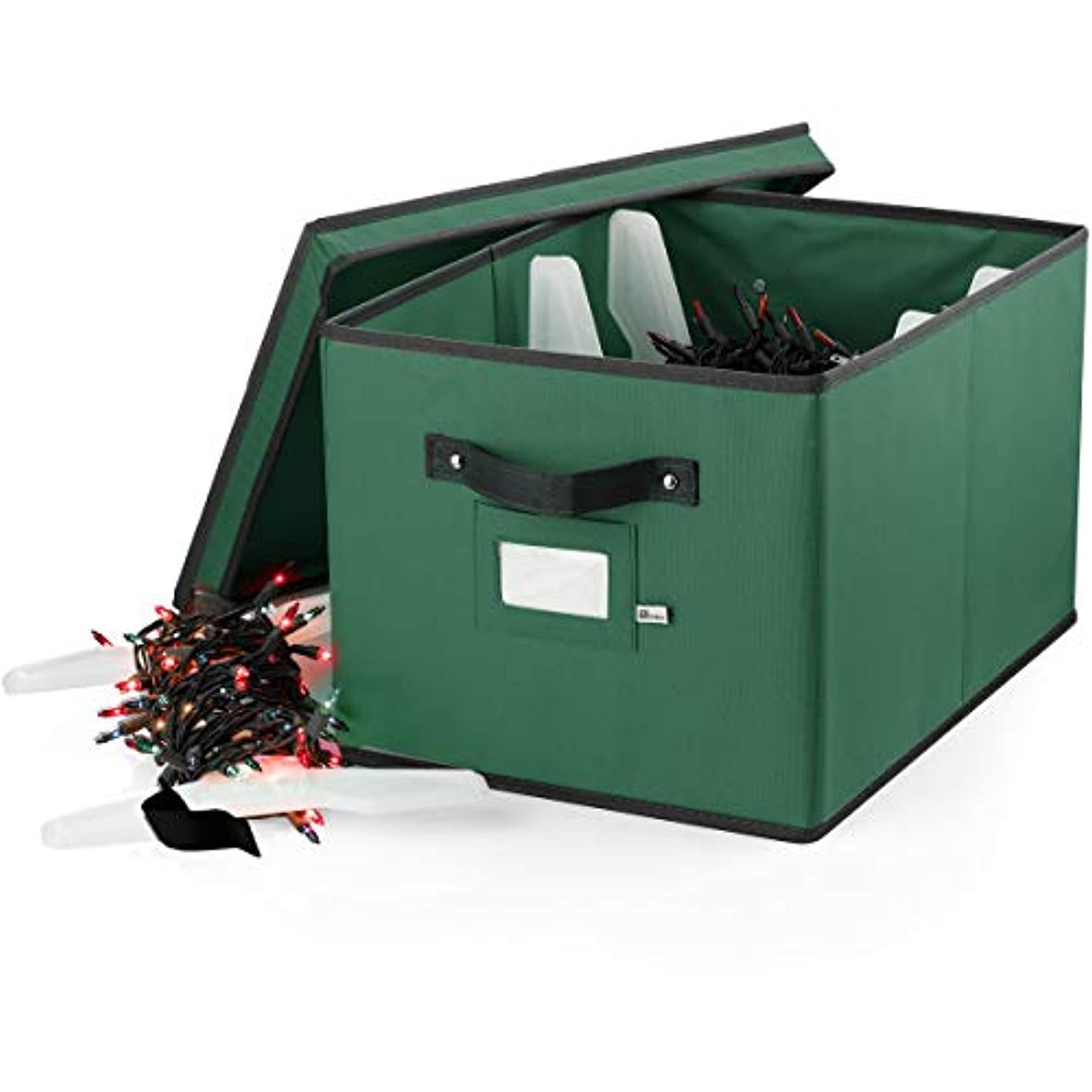 ZOBER Christmas Light Box Storage - Premium 600D Oxford, with 4 Plastic Light Wraps, to Store Up to 800 Holiday Christmas Lights Bulbs, Reinforced Stitched Handles 5 Year Warranty