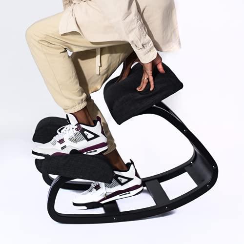 SLEEKFORM Ergonomic Kneeling Chair   Rocking Balancing Wood Knee Stool   Posture Correcting for Bad Backs, Neck Pain & Spine Tension Relief   Orthopedic Balance Seat & Thick Comfortable Knees Cushions