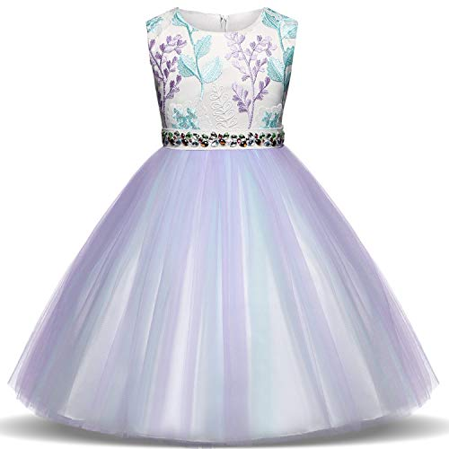 TTYAOVO Girls Tulle Embroidered Baptism Birthday Party Wedding Flower Girl Princess Dresses Size 2-3 Years Purple