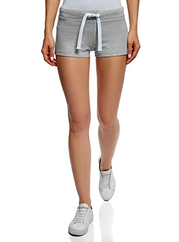 oodji Ultra Damen Baumwoll-Shorts Basic, Grau, Herstellergröße DE 42 / EU 44 / XL