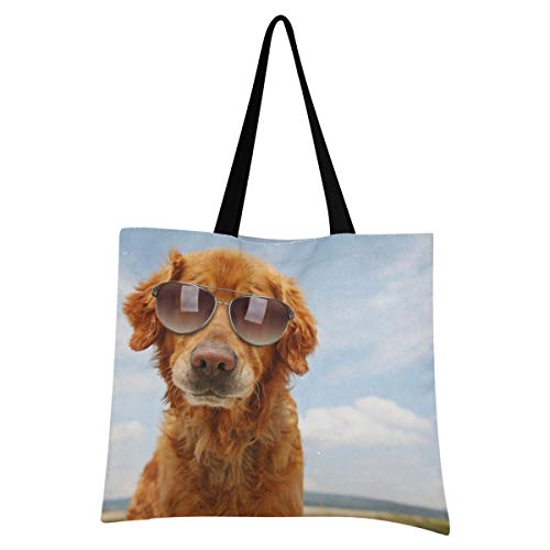 XIXIXIKO Golden Retriever - Bolsa de lona para gafas de sol para perro, ligera, bolsa de playa, bolsa de hombro, resistente para mujeres, niñas, compras, gimnasio, playa, viajes, diarios