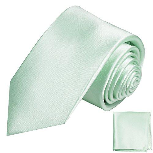 Paul Malone Seidenkrawatten Set 2tlg schmale 6cm Krawatte mintgrün uni satin + Einstecktuch (Normallange 150cm)