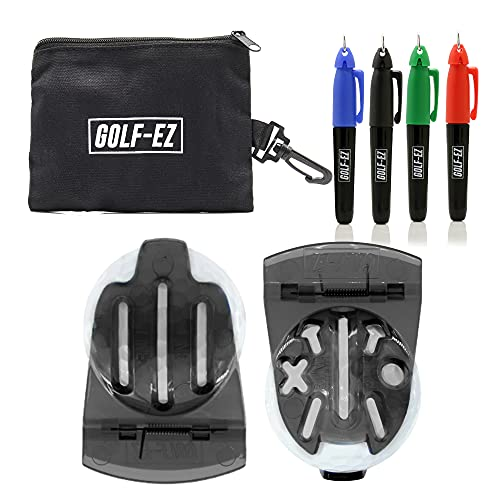 Golf-EZ TRI-LINE Golf Ball Alignment Kit with Carry Case | Swing Path Arrows & Ball Identifiers