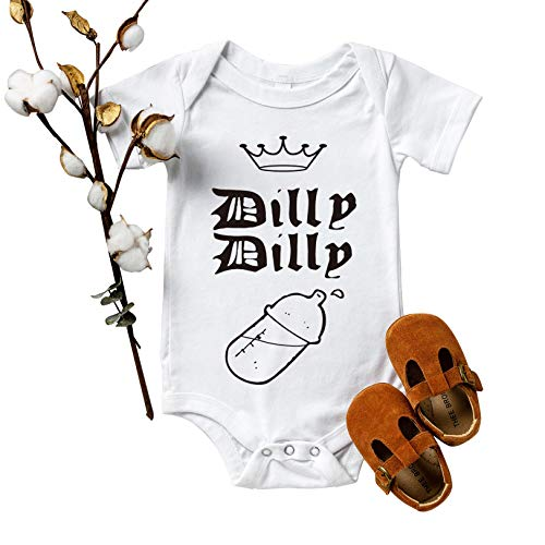Rocksir Dilly Dilly Drinking Funny Baby Onesie Newborn Bodysuit Super Soft Cotton Baby Short Sleeve Clothes (3m White dad17)
