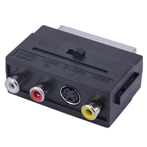 Nowear - Adaptador de euroconector de 21 Pines a 3 RCA (euroconector RGB a vídeo Compuesto RCA, S-Video, AV-TV)