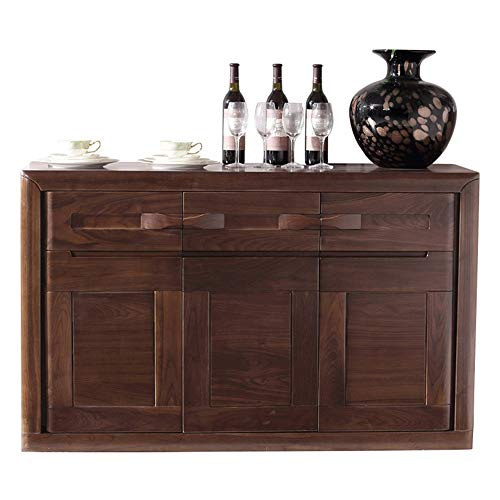LIUXING-Home Gabinetes multifuncionales Nogal Negro bufé Armario de Estar Aparador Aparador Moderno Mesa Decorativa para la Cocina (Color : Brown, Size : 137.2x42x85cm)