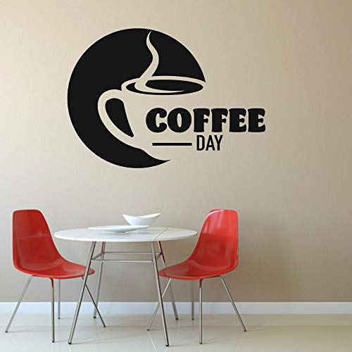 yaonuli Cafe Deko und Küche Wandkunst Deko Vinyl Aufkleber Tag Kaffee Text Wandaufkleber 74x54cm