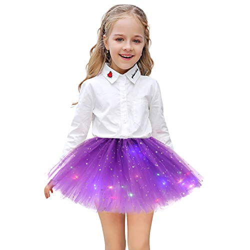 SFeng Falda tutú con luz LED para niñas, falda de baile con luz mágica de princesa, falda de baile LED, luminosa fiesta de Navidad SStage Performance tul ballet para niños niñas (morado oscuro)