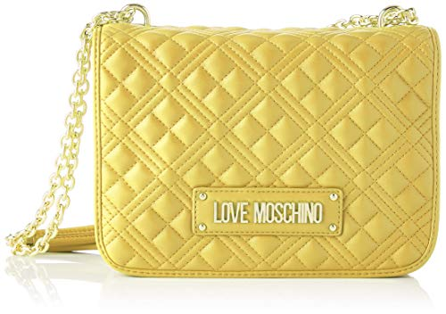 Love Moschino Precollection SS23, Damen-Schultertasche aus PU, New Shiny Quilted, Gelb, Normal