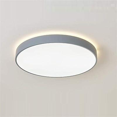 Lampe de plafond ronde à intensité variable - Lumière de salon à 306 ° - Lampe de chambre à coucher, bureau moderne, salle de bain - Gris clair - 50 x 6,5 cm / 48 W