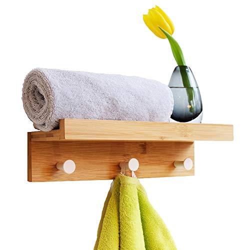 PIVELLO® Wandregal Handtuchhalter & Garderobe mit 3 Haken 35x12x8cm für Bad Badezimmer Badregal aus Holz Bambus Regal Kinderzimmer Holzregal Wandhaken