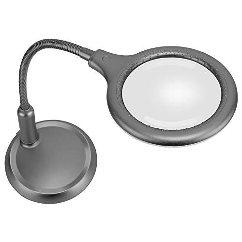 Lupe mit Licht, Wiederaufladbare Lupen-Schreibtischlampe mit 2000-mAh-Li-On-Akku, Berührbare Touch-Helligkeit, Schwerer Ständer, flexibler 360 ° -Metallschlauch, USB-Ladeanschluss Zum Lesen
