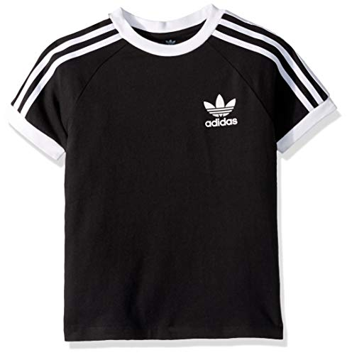 adidas Originals Boys' Big 3-Stripes Tee, black/white, Large
