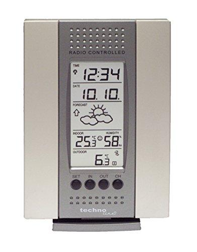 Technoline WS 7014-IT klassische Wetterstation mit Vorhersage von Wettersituation, Datum, Uhrzeit, Anzeige von Wettertendenz und Innen und Außentemperatur, silber, 3 x 9,1 x 13,8 cm