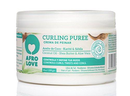 Afro Love Curling Puree 235g - Creme Coiffante pour Cheveux Bouclés à L'huile de Coco, au Beurre de Karité et à L'aloe Vera Sans Silicone, Sans Parabène