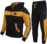 GUBA® - Tuta da jogging per bambini e bambine, design HNL, con cappuccio e fondo in pile, 5-13 anni Senape nero 11-12 anni