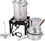 COLIBROX Backyard Pro Deluxe 30 qt Aluminum Turkey Fryer Steamer Kit | 55000 BTU Cast Iron Liquid Burner | for Barbecues Fair Clam Bake Pot Heavy Duty 20lbs Capacity | Ideal for Outdoor Propane Coo