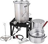 COLIBROX Backyard Pro Deluxe 30 qt Aluminum Turkey Fryer Steamer Kit | 55000 BTU Cast Iron Liquid...
