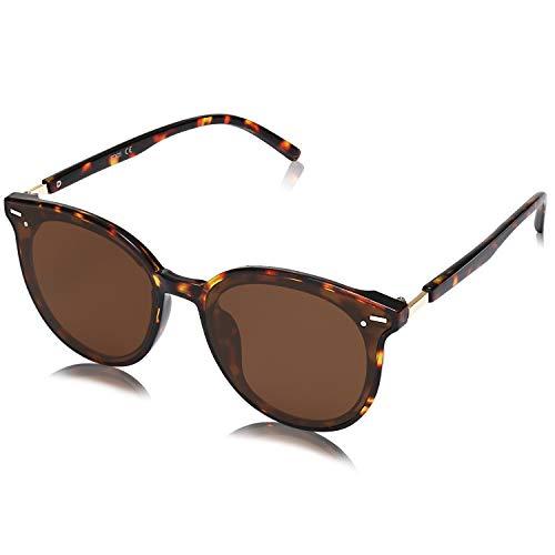 SOJOS Klassisch Retro Runde Sonnenbrille Damen Herren Groß Brille SJ2067 mit Demi Rahmen/Braun Linse