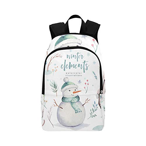 Travel Daypack Backpack Cute Childlike Winter White Snowman Durable Water Resistant Classic Best Hiking Bag Crossbody Bags Casual Kids Bag School Day Backpack for Men
