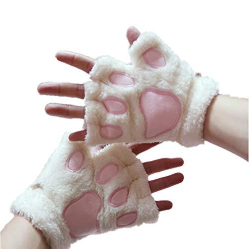 Kbinter USB 2.0 Powered Stripes Heating Pattern Knitting Wool Cute Heated Paw Gloves Fingerless Hands Warmer Mittens Laptop Computer Warm Gloves for Women Men Girls Boys (White)