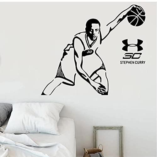 Papel pintado de baloncesto decoración de la habitación pegatina de pared ventilador regalo póster calcomanía maestro hombre calcomanías extraíbles 57x65 cm