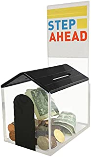 MCB Animal Dog House Charity Donation Collection Box with Display Sign Holder with Cam-Lock and 2 Keys (Black)