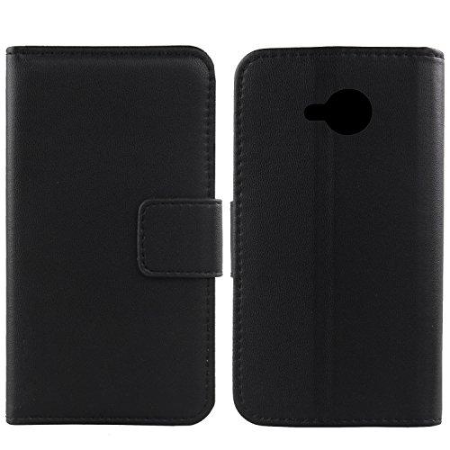 Gukas Design Echt Leder Tasche Für HTC U11 Life Hülle Lederhülle Handyhülle Handy Flip Brieftasche mit Kartenfächer Schutz Protektiv Genuine Premium Hülle Cover Etui Skin (Schwarz)