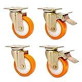 4 ruedas industriales de poliuretano, resistentes, 1000 kg, con freno, ruedas universales antipolvo giratorias y silenciosas para carro de transporte de fábrica de muebles hospitales