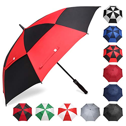 BAGAIL Golf Umbrella 68/62/58 Inch Large Oversize Double Canopy Vented Automatic Open Stick Umbrellas for Men and Women(Black/Red,68 inch)
