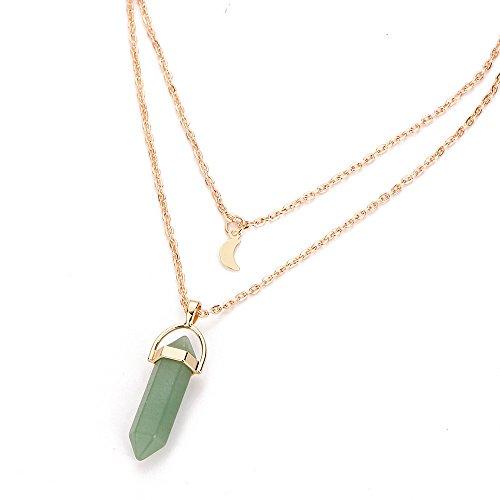 Fasclot Women Multilayer Irregular Crystal Opals Pendant Necklace Choker Chain