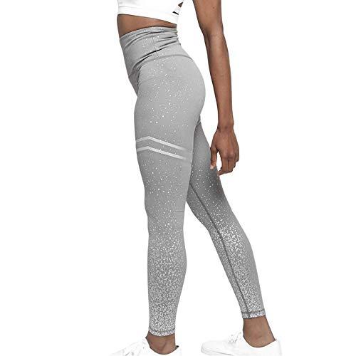 nohbi Leggings de Yoga de Control de Abdomen,Pantalones de Yoga con Estampado de GimnasioSexy para Mujer,Leggings de Cintura Alta Slim Fitness-Grey_L,Polainas de Yoga Ropa de Gimnasia