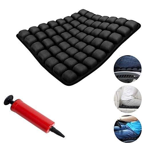 GHzzY Cojín Inflable de Aire para automóvil, Oficina y Silla de Ruedas - Cojín Inflable antiescaras para ortopedia Alivio del Dolor y la presión - 16'x16,Black