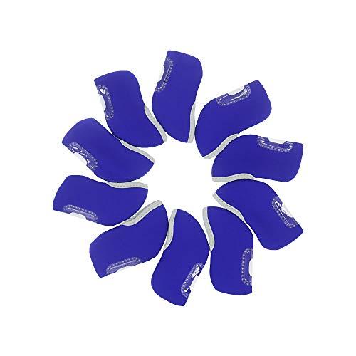 MamimamiH, Abdeckung / Schutzhülle für Golfschläger / Golf-Eisen, hochwertig, Neopren, mit Sichtfenster, schützt den Schlägerkopf, für Taylormade, Nike, Callaway usw., 10 Stück, blau