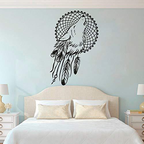 Papel tapiz simple cabeza de lobo atrapasueños calcomanía de pared pluma atrapasueños dormitorio decoración de la cabecera pegatina otro color 37x57 cm