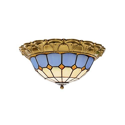 Plafonnier encastré à LED, Abat-Jour méditerranéen de Style Tiffany, Abat-Jour méditerranéen, Lampe de Plafond rétro, Lampe de Plafond pour Chambre à Coucher, Salon, LED 24W