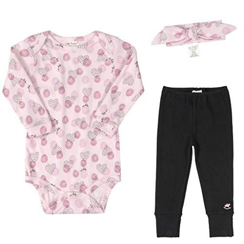 Conjunto Bebê Menina Algodão Body Manga Longa Calça Faixa de Cabelo 03 Peças Roupas de Bebe Bolinhas Rosa Up Baby (Tam 1 12-24 meses)