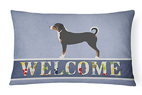 Caroline 's Treasures bb8288pw1216Appenzeller Sennenhund Welcome Canvas Stoff Dekoratives Kissen, Multicolor