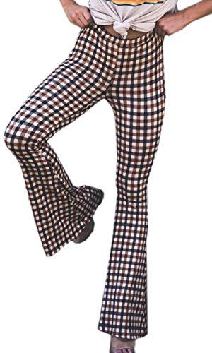 Ptyhk RG-MX Womens otoño - Invierno Tartan Contraste Slim Fit Acampanado Pantalones de Campana de Fondo Brown M
