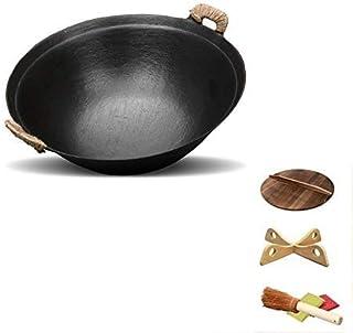 Grand Pot En Fer Vintage Fait Main Ménage Rond Fond Wok Binaural Non Pané En Fonte Traditionnelle Poêle Antiadhésive,32cm