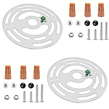 ECUDIS 4 Inches Diameter Universal Light Fixture Crossbar 2 Sets Circle Mounting Bracket Steel Crossbar Plate with Ground Screw for Mount Wall Light Close to Ceiling Light Chandelier