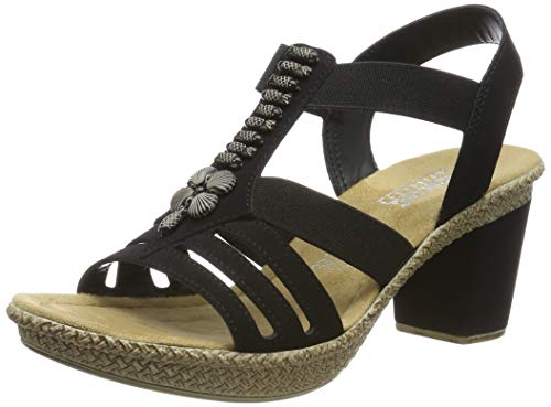 Rieker Damen Sandalen, Frauen Sandaletten, Sommerschuhe Absatzschuhe offene hoher Absatz feminin Freizeit leger,Schwarz(schwarz),39 EU / 6 UK