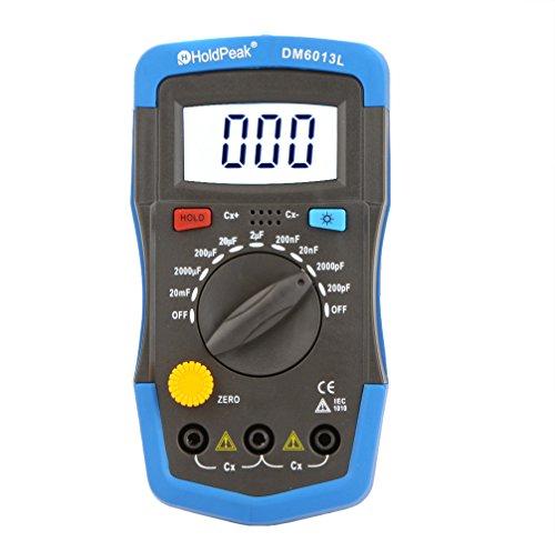 Capacimetro Condensadores Digital Profesional pf/mf/μf,HoldPeak Medidor Capacitancia Eléctrica Probador con Cable de Prueba Pantalla LCD, Luz de Fondo