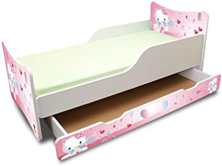 Best For Kids Children s Bed with Foam Mattress with T V CERTIFIED 90x160 WITH DRAWER DESIGNS     Kids     Sweet Kitty