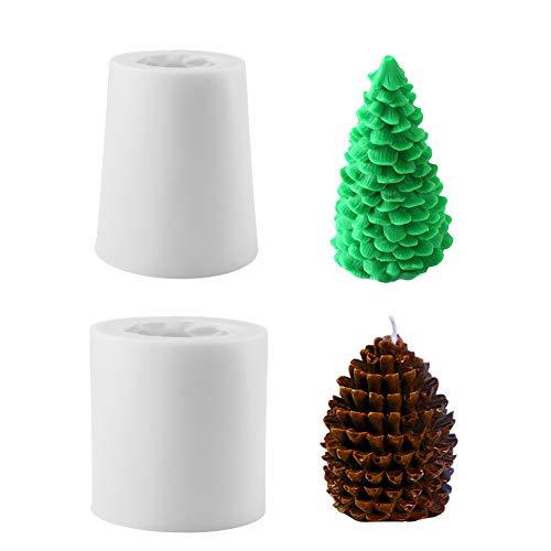 Molde de vela de árbol de Navidad 3D, 2 piezas Molde de vela de silicona Moldes para hornear Moldes de jabón para bricolaje Pastel de Navidad Fondant Decoración de dulces Jabón Fabricación de velas