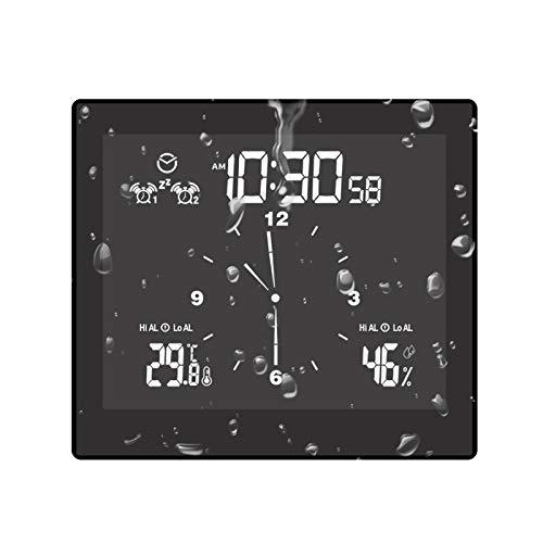 Teeyyui Horloge De Salle De Bain, Horloge De Douche à Minuterie Numérique, Réveil Mural avec Hygromètre Thermomètre étanche avec Ventouse, pour Cuisine De Salle De Bain (Noir)